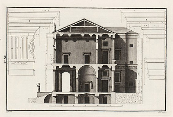 Palazzo Chiericati sezione Bertotti Scamozzi 1776