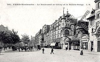 Académie de La Palette - Paris Montmartre, ca.1900, Le Boulevard de Clichy et le Moulin-Rouge, 18th arrondissement of Paris. The Académie de La Palette, 104 Bld de Clichy, would be located toward the center of the photograph