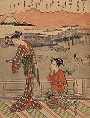Parody of Eight Sceneries of Edo: Evening Glow over Ryogoku Bridge