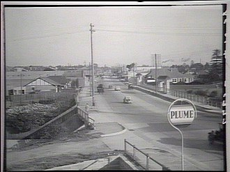 Parramatta Road - Parramatta Road in the 1930s looking east across Iron Cove Creek towards Lewisham. Photo courtesy State Library of NSW