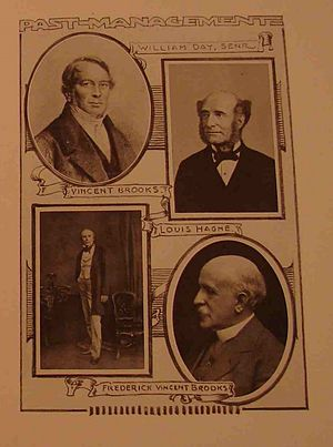 Vincent Brooks, Day & Son - Taken from the 1923 Centenary Programme; an illustration showing the firm's past management.