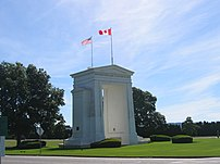 The Peace Arch on the Canadian side is located in Surrey