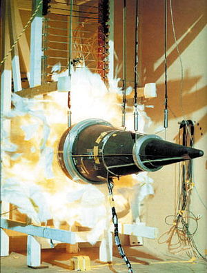 Stockpile stewardship - A Peacekeeper missile's Mk. 21 reentry vehicle is subjected to a wall of fire to determine how its aging components would react if used today.