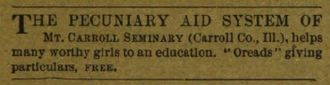 Mount Carroll Seminary - Advertisement from an 1888 Unitarian, emphasizing the financial aid available.