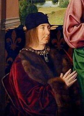 Peter II, Duke of Bourbon - A detail of a portrait of Peter II, presented by St. Peter, Louvre, oil on oak, 65x73 cm, 1492–1493, by Jean Hey