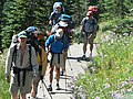 People hiking up Dead Horse through flower meadows (asters). (580c0a5e52444be0902411231085094e).JPG