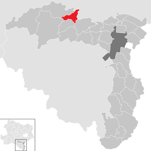 Location of the municipality of Pernitz in the Wiener Neustadt-Land district (clickable map)
