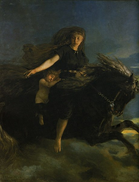 File:Peter Nicolai Arbo - Natten - Nasjonalmuseet - NG.M.03666.jpg Artist  Peter Nicolai Arbo  (1831–1892) Blue pencil.svg wikidata:Q353014 Peter Nicolai Arbo: Q55421265 Title  Norwegian Bokmål: Natten Object type painting Description  Español: Nótt cabalgando a Hrímfaxi Date 1887 Medium oil on canvas Dimensions Height: 230 cm (90.5 in); Width: 181 cm (71.2 in) Collection  National Museum of Art, Architecture and Design  Blue pencil.svg wikidata:Q1132918 Accession number  NG.M.03666 (National Museum of Art, Architecture and Design) References described at URL: http://samling.nasjonalmuseet.no/en/object/NG.M.03666 Source/Photographer Not necessary, PD by age.