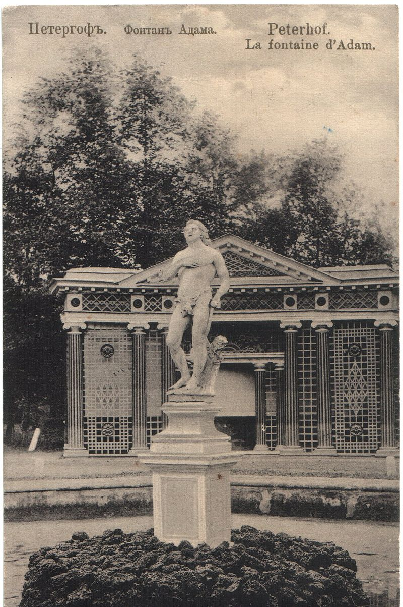 https://upload.wikimedia.org/wikipedia/commons/thumb/d/db/Peterhof_Fountain_Adam_1907.jpg/800px-Peterhof_Fountain_Adam_1907.jpg