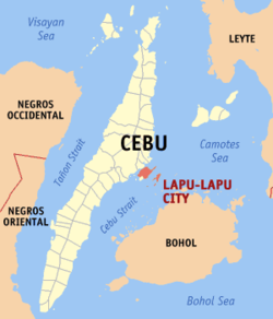 Map of Cebu with Lapu-Lapu highlighted