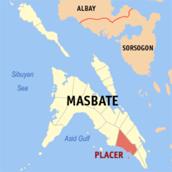 Map of Masbate with Placer highlighted