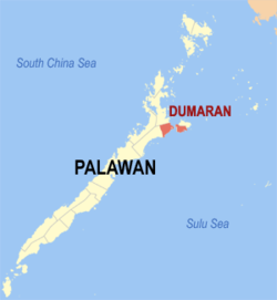 Map of Palawan with Dumaran highlighted
