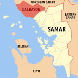Map of Samar showing the location of Calbayog City
