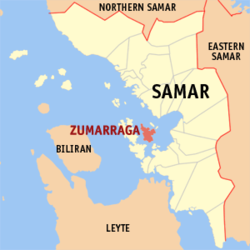Map of Samar with Zumarraga highlighted