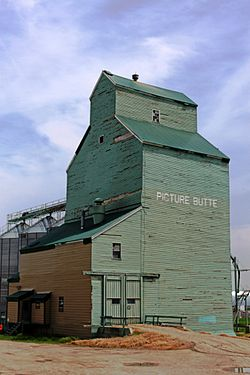 Former Alberta Wheat Pool elevator along the disused CPR tracks.