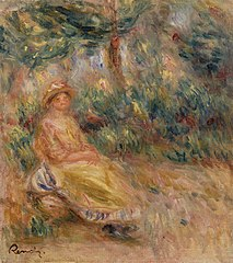 Woman in Pink and Yellow in a Landscape (Femme en rose et jaune dans un paysage)