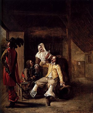 Two Soldiers and a Serving Woman with a Trumpeter - Image: Pieter de Hooch Two Soldiers and a Serving Woman with a Trumpeter WGA11681