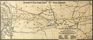 Fifty-Niner - A map showing prominent routes to the gold regions, circa 1860.