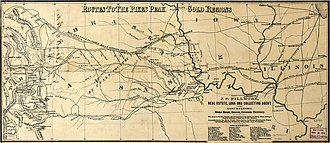Pike's Peak Gold Rush - A map from the late 1850s showing prominent routes to the gold regions