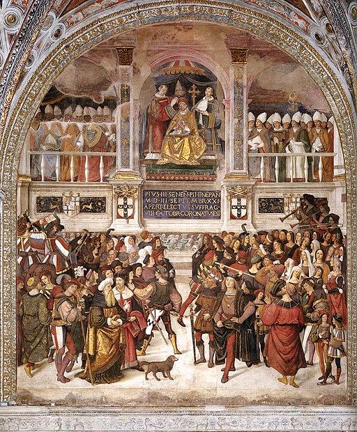 Pinturicchio, Libreria Piccolomini, Incoronazione di Pio III, pure di Pinturicchio (1503-1508)