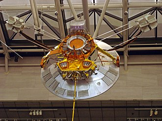 Space probe - A planned 1974 probe, Pioneer H, on display in the National Air and Space Museum.