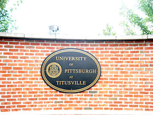 University of Pittsburgh at Titusville - Pitt-Titusville campus entrance sign