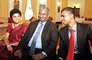 Shirani Bandaranayake - Chief Justice Shirani Bandaranayake, her husband Pradeep Kariyawasam and son.