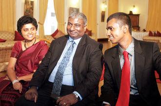 Shirani Bandaranayake - Chief Justice Shirani Bandaranayake, her husband Pradeep Kariyawasam and son.