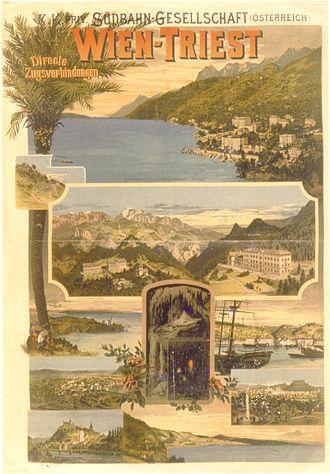 Southern Railway (Austria) - Südbahn poster, 1898