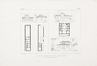 Plans et elévations de deux petites maisons. l´une de ville et l´autre de campagne