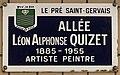 Plaque Allée Léon Alphonse Quizet - Le Pré-Saint-Gervais (FR93) - 2021-04-28 - 1.jpg