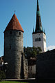 Plate Tower of Tallinn City Wall, St. Olaf's Church (Oleviste kirik) spire Tallin, Estonia, Northern Europe.jpg