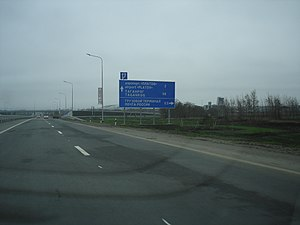 Platov International Airport - The M4 highway, with the turning to the airport