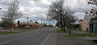 Newington, Victoria - Pleasant Street commercial area looking south.  The Bunch of Grapes Hotel is on the left.