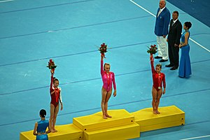 Nastia Liukin - Liukin winning gold medal in the all-around