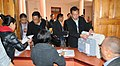 Polling officials collecting the Electronic Voting Machines (EVM's) and other necessary inputs required for the Nagaland State Assembly Election, at Kohima, Nagaland on February 22, 2013.jpg