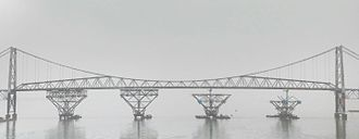 Hercilio Luz Bridge - Construction of the midspan piers for the repair work in August 2015