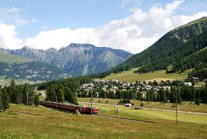 Pontresina - Train of the Rhaetian Railway in Pontresina