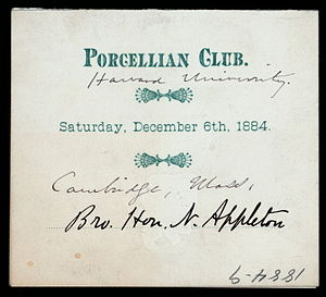 Porcellian Club - A menu from a dinner at the Porcellian Club 1884 (original in the Buttolph collection of menus, NYPL)