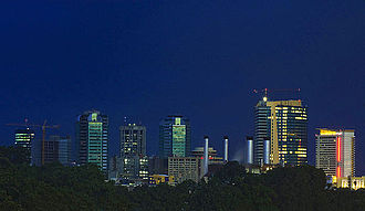 Economy of Trinidad and Tobago - Image: Port of Spain night skyline 2008