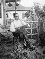 Portrait, man, reading, newspaper, garden, boots Fortepan 8400.jpg