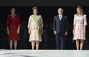 Marcela Temer - Michel and Marcela Temer (right) at President Dilma Rousseff's inauguration ceremony, January 1, 2015