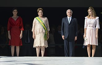 Marcela Temer - Michel and Marcela Temer (right) at President Dilma Rousseff's second inauguration ceremony, January 1, 2015