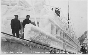 SS Northwestern (1889) - Postcard image of the Northwestern covered in ice after a storm