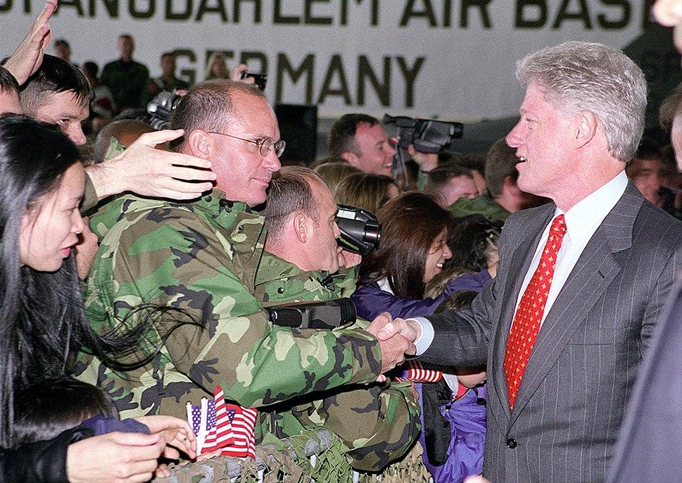 President Clinton greets the crowd at Spangdahlem Air Base