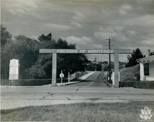 Civil Affairs Staging Area - A sentry stands at the main gate to the Presidio of Monterey in the Spring of 1945. The Presidio of Monterey was reactivated in January 1945 to accommodate the Civil Affairs Staging Area.