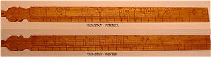 Runic calendar - A Norwegian primstav, carved in wood.