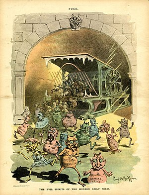 "Yellow journalism - ""Evil spirits"", such as ""Paid Puffery"" and ""Suggestiveness"", spew from ""the modern daily press"" in this Puck cartoon of November 21, 1888"
