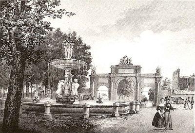 Grabado decimon nico de la puerta de atocha y la fuente de for Jardines de la puerta de atocha