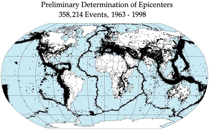 Quake epicenters 1963-98